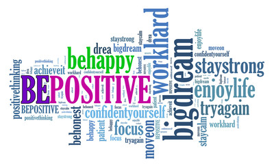 BE POSITIVE and other positive words. Positive thinking, attitude concept.