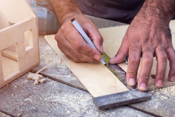 Carpenter making a house out of wood, draws pencil to carve