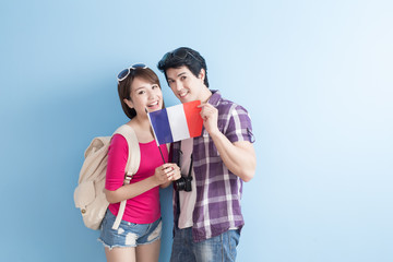 young couple go to travel