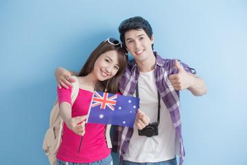 young couple take australian lag