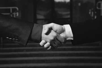 black and white art photography monochrome, business firm handshake
