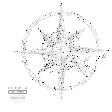 Grey compass rose with polygon line on abstract background. Polygonal space low poly with connecting dots and lines. Connection structure. Vector science background