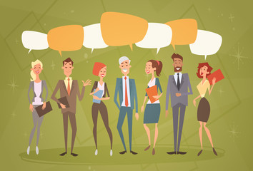 Business People Group Chat Bubble Team Human Resources Colleagues Flat Vector Illustration