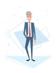Senior Business Man Human Resources, Businessman Cartoon Character Full Length Flat Vector Illustration