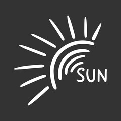 Hand drawn sun icon. Vector illustration isolated on black background.
