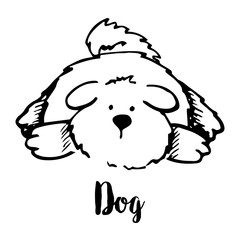 Sketch dog isolated on a white background. Vector illustration.
