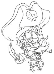 happy smiling cartoon pirate mummy coloring page