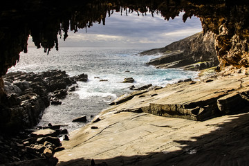 Admirals Arch, sunset at the impressive landmark on Kangaroo Island, South Australia
