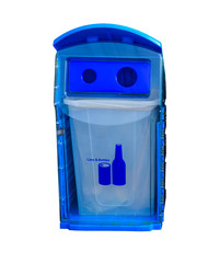 Blue recycle bin for cans and bottles isolated on white background. Waste management concept
