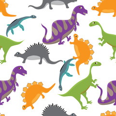 Adorable seamless pattern with funny dinosaurs in cartoon. Seamless pattern can be used for wallpapers, pattern fills, web page backgrounds, surface textures.