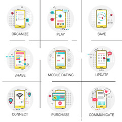 Update New Apps Share Save Play Communicate Purchase Organize, Cell Smart Phone Icon Set Vector Illustration