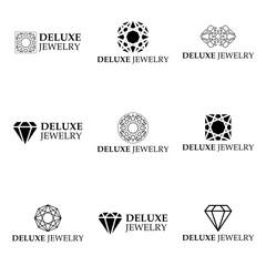 Set of vector luxury jewelery logo templates. Deluxe diamond shapes. Jewelery icons.
