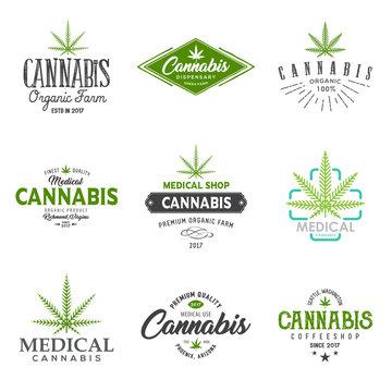 Set of medical marijuana cannabis leaf logo, labels.