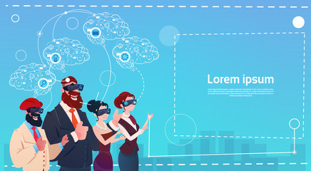 Mix Race People Group Using Gadgets Brainstorming Remote Workers Wear Digital Reality Glasses Flat Vector Illustration