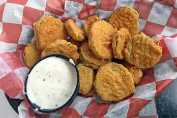 Fried pickles with ranch dipping sauce