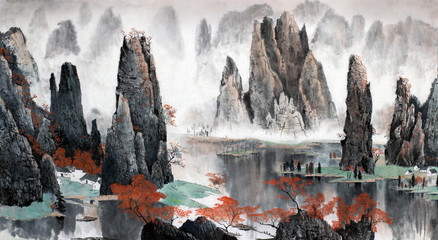 Poster Gray Chinese landscape of mountains and water