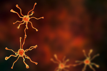 Neuronal synapses, network of neurons, brain cells. 3D illustration with space for title and text
