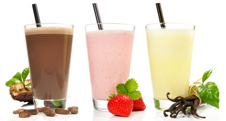 Tuinposter Milkshake Milchshake - Schokolade, Erdbeere, Vanille