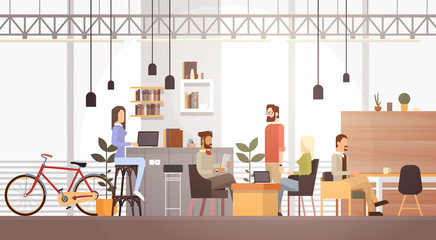 People In Creative Office Co-working Center University Campus Modern Workplace Interior Flat Vector Illustration