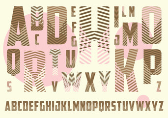 alphabet with crossing stripes pattern in brown and pink