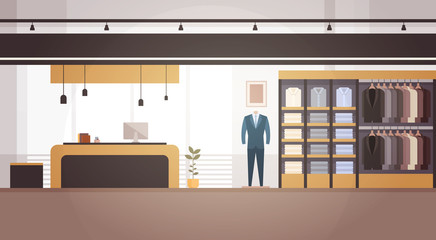 Big Fashion Shop Super Market Male Clothes Shopping Mall Interior Banner With Copy Space Flat Vector Illustration