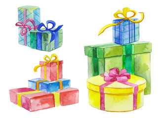 Watercolor gift boxes