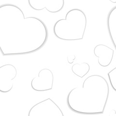 Simple light  seamless pattern with white hearts