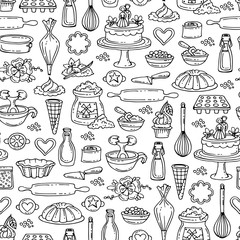 Vector seamless pattern with hand drawn cakes on white color. Pattern on the theme of food and kitchen