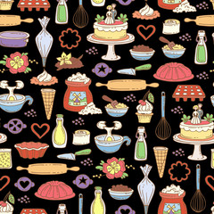Vector seamless pattern with hand drawn colored cakes on black color. Pattern on the theme of food and kitchen