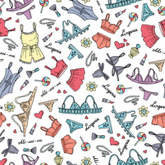 Vector seamless pattern with hand drawn colored lingerie. Pattern on the theme of fashion and beauty