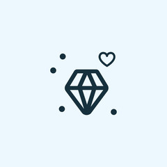 Valentine's day. Romantic design elements isolated. Thin line version. Vector illustration. Diamond icon