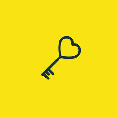 Valentine's day. Romantic design elements isolated. Thin line version. Vector illustration. Heart key icon