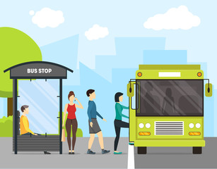 Cartoon Bus Stop with Transport and People. Vector