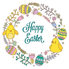 Easter doodles chickens, eggs and floral elements in circle shape. Happy Easter lettering. Vector illustration.
