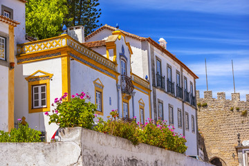 White Yellow Building 11th Century Castle Wall  Obidos Portugal