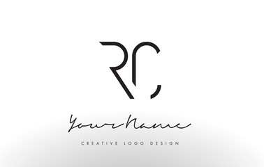 RC Letters Logo Design Slim. Creative Simple Black Letter Concept.