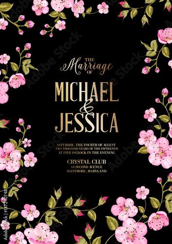 wedding invitation card template spring flowers border over card with marriage text cherry blossom flowers vector illustration