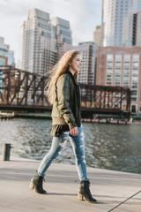 Young woman in city, Boston, Massachusetts, USA