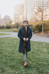 Young man in park, Boston, Massachusetts, USA