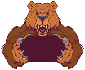 Brown Bear Mascot Holding with Claws Vector Template