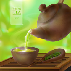 Vector 3d illustration of a tea ceremony. From the kettle filled with hot cup of tasty drink. Teapot, bowl and green tea leaves
