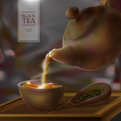 Vector 3d illustration of a tea ceremony. From the kettle filled with hot cup of tasty drink. Teapot, bowl and black tea leaves