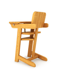 Chair baby, high chair. 3D illustration