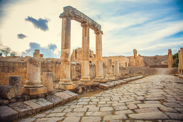 Ancient Roman ruins of temple in Jerash, Jordan