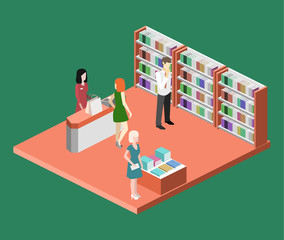 Isometric flat 3D interior of book shop.
