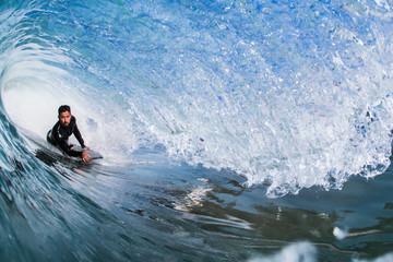 Man surfing in sea, Encinitas, California, USA