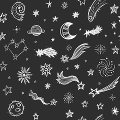 Seamless pattern with stars, comets and planets on a blackboard background