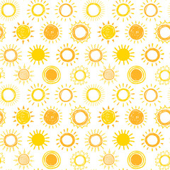 Seamless pattern with hand drawn doodle suns