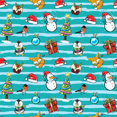 Seamless winter holiday pattern with Christmas elements