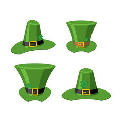 Leprechaun Green hat isolated. St. Patrick's Day national holiday. Hat Magic Dwarf in Ireland.Traditional Irish Festival
